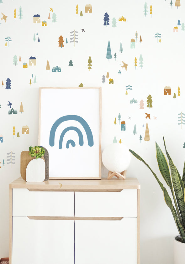 Magical Village - muted - WALL DECAL