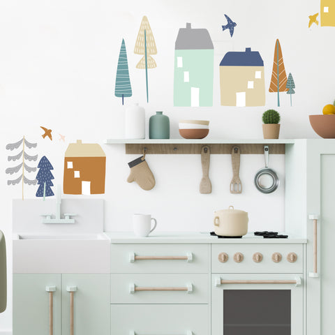 Large Magical Village - Muted - Wall Decals