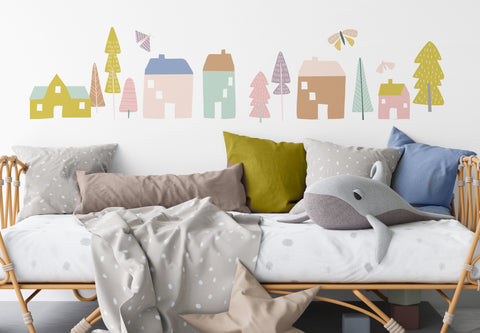 Large Magical Village - Pastels - Wall Decals