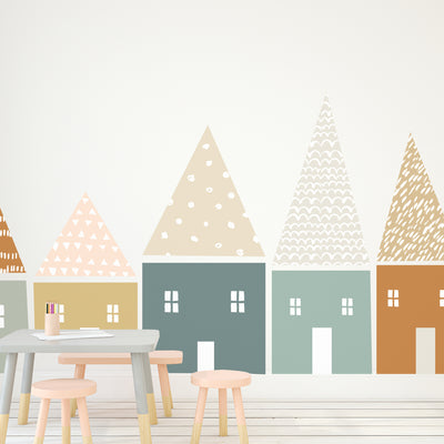 Large Muted Folk House - Die Cut Decal - WALL DECAL