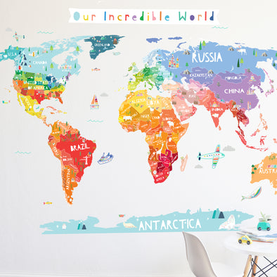 Map Of The World Decal.Our Incredible World Die Cut World Map Wall Decal With