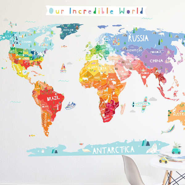 Map decals the lovely wall company our incredible world die cut world map wall decal with personalization stickers gumiabroncs Image collections