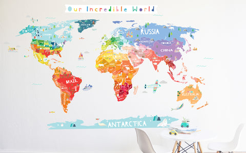 Our Incredible World Die Cut World Map Wall Decal with Personalization stickers