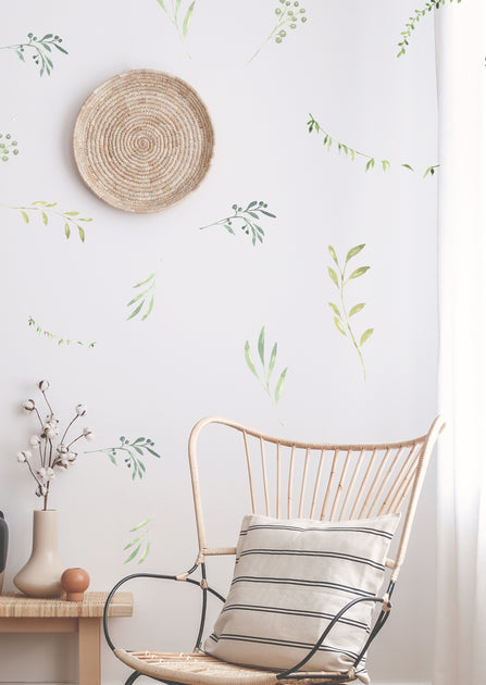 Water Color Sweet Branches And Leaves Wall Decals The Lovely Wall Company