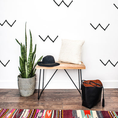 Wall Decal - Wonky Geometric W - Wall Sticker - Room Decor
