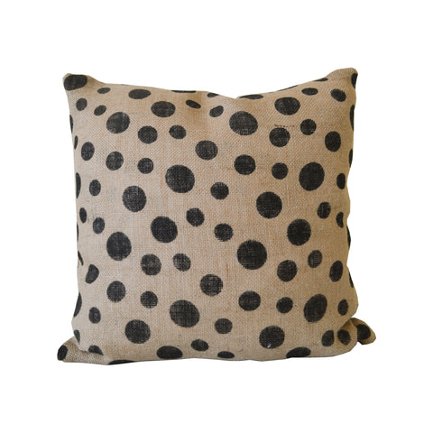 Polka Dot Burlap Accent Pillow