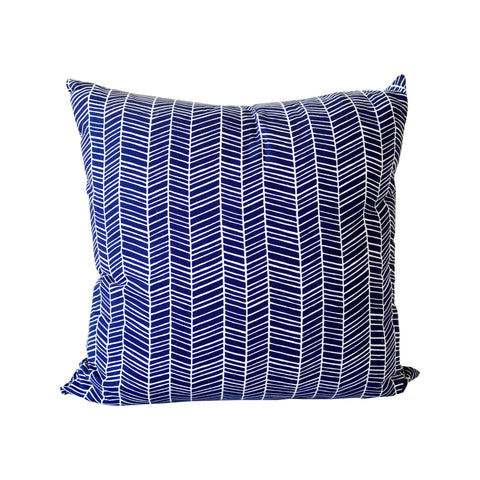 Navy Herringbone Accent Pillow