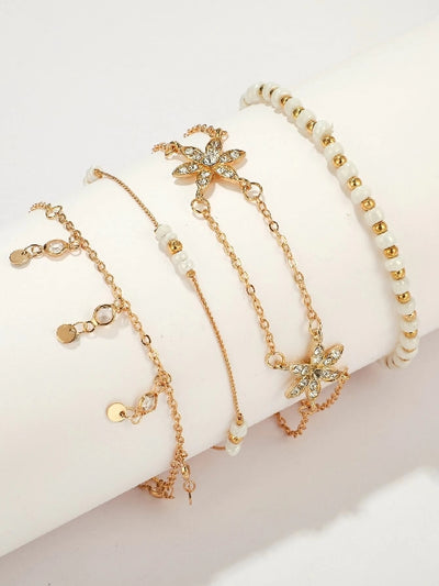 Rhinestone Engraved Star & Disc Decor Chain Anklet 4pcs