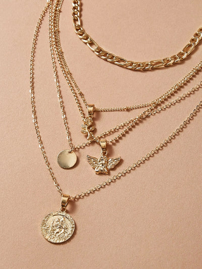 Coin & Disc Charm Layered Necklace