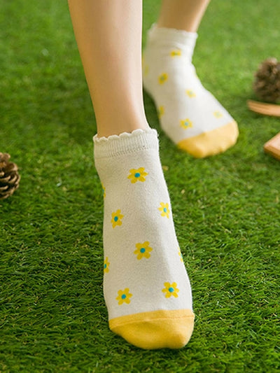5pairs Daisy Scallop Trim Ankle Socks