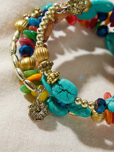 Turquoise Decor Layered Braceletv