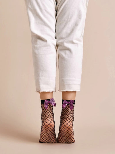 2pairs Bow Tie Decor Fishnet Socks