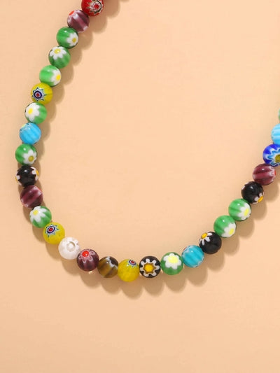 Floral Pattern Colorful Beaded Chocker