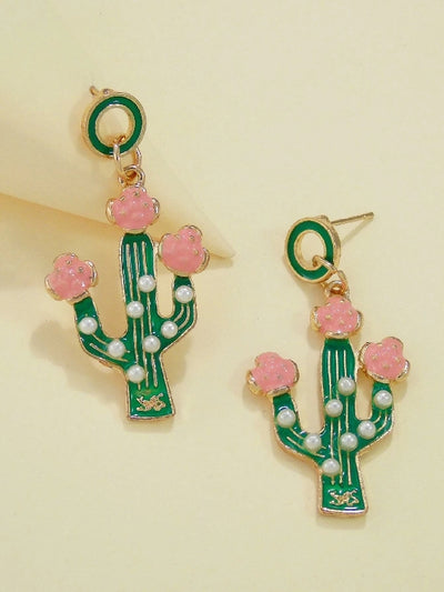 Cactus with Faux Pearl  Drop Earrings