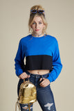 Color Block Crop Long Sleeve Tee