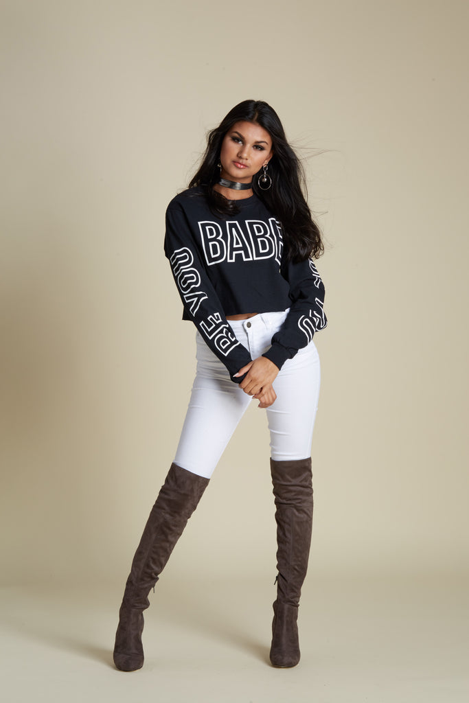 Be You Babe Crop Long Sleeve Tee
