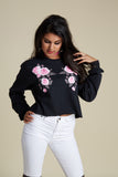 Pink Symetrical Roses Crop Long Sleeve Tee