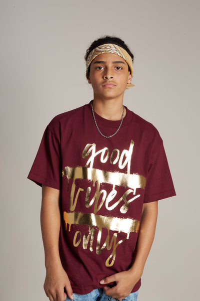 Good Vibes Only Gold Foil Tee