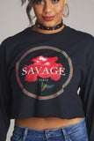 Savage Luxury Rose Long Sleeve Crop Tee