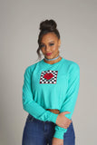 Checkered Rose Box Long Sleeve Crop Tee