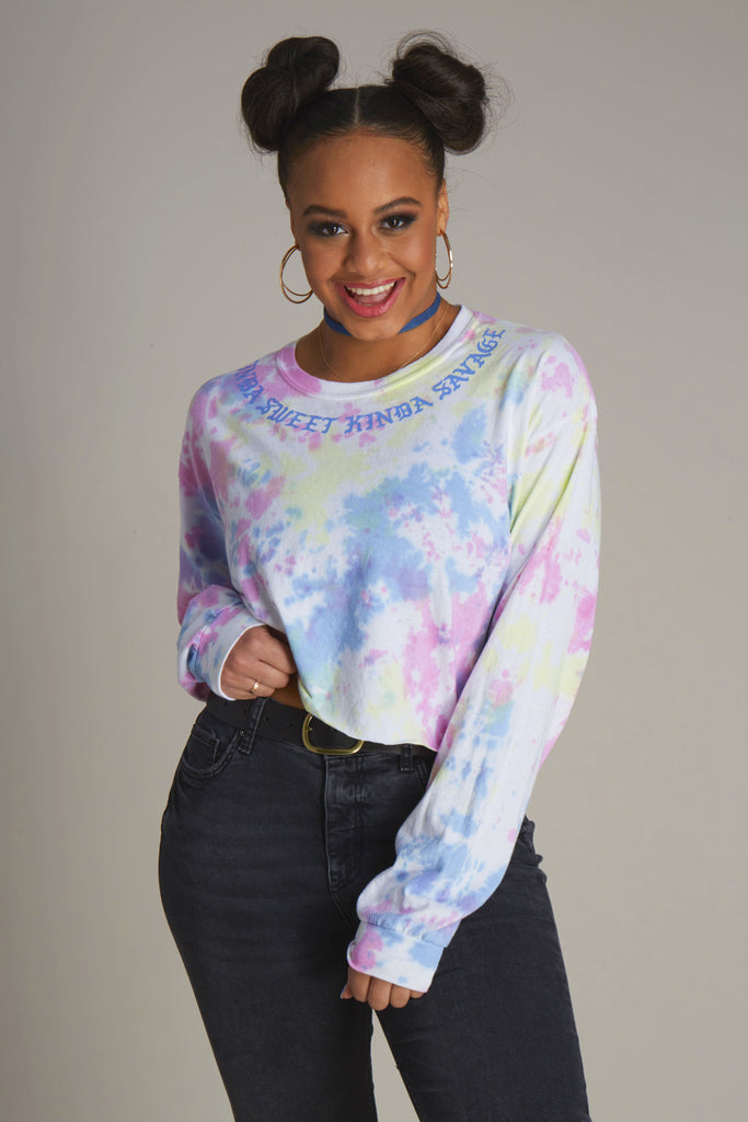 Kinda Sweet Kinda Savage Tie Dye Long Sleeve Crop Tee