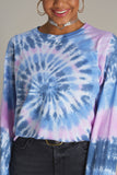Smile Script Tie Dye Long Sleeve Crop Tee