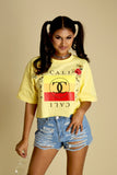 Cali Lux Floral Stripes Crop Short Sleeve Tee