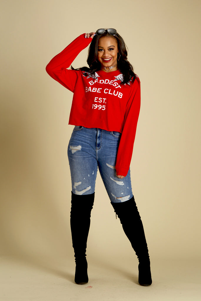 Baddest Babe Club Crop Long Sleeve Tee