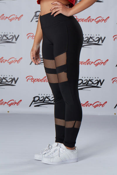 MISSGUIDED active black fishnet panel leggings