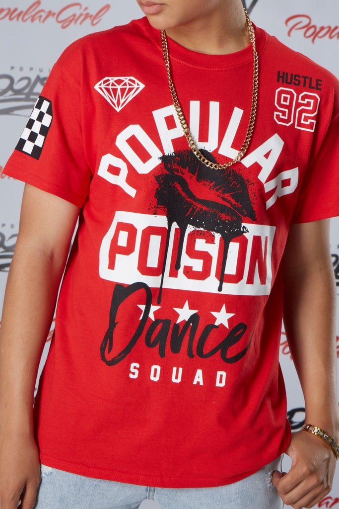 Popular Poison Dance Squad Lips Short Sleeve Tee