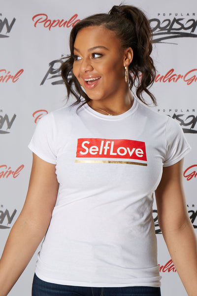 Self Love Gold Stripe Foil Short Sleeve Tee