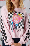 Checkered Rose Crop Long Sleeve Tee