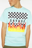 Checkered Flame Short Sleeve Tee