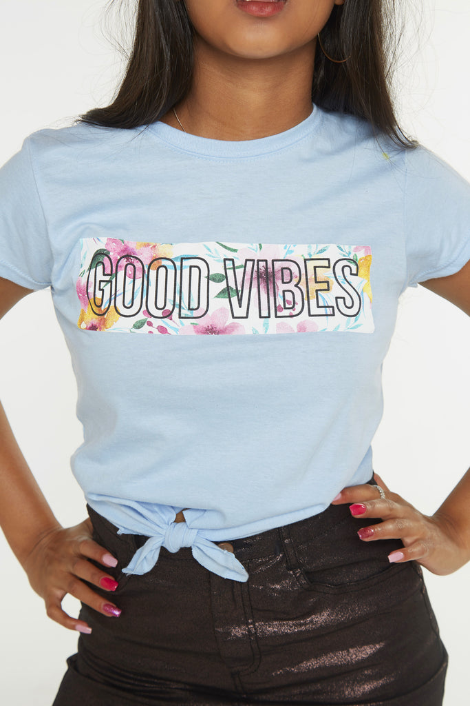 Good Vibes Floral Box Crop Tie Front Tee