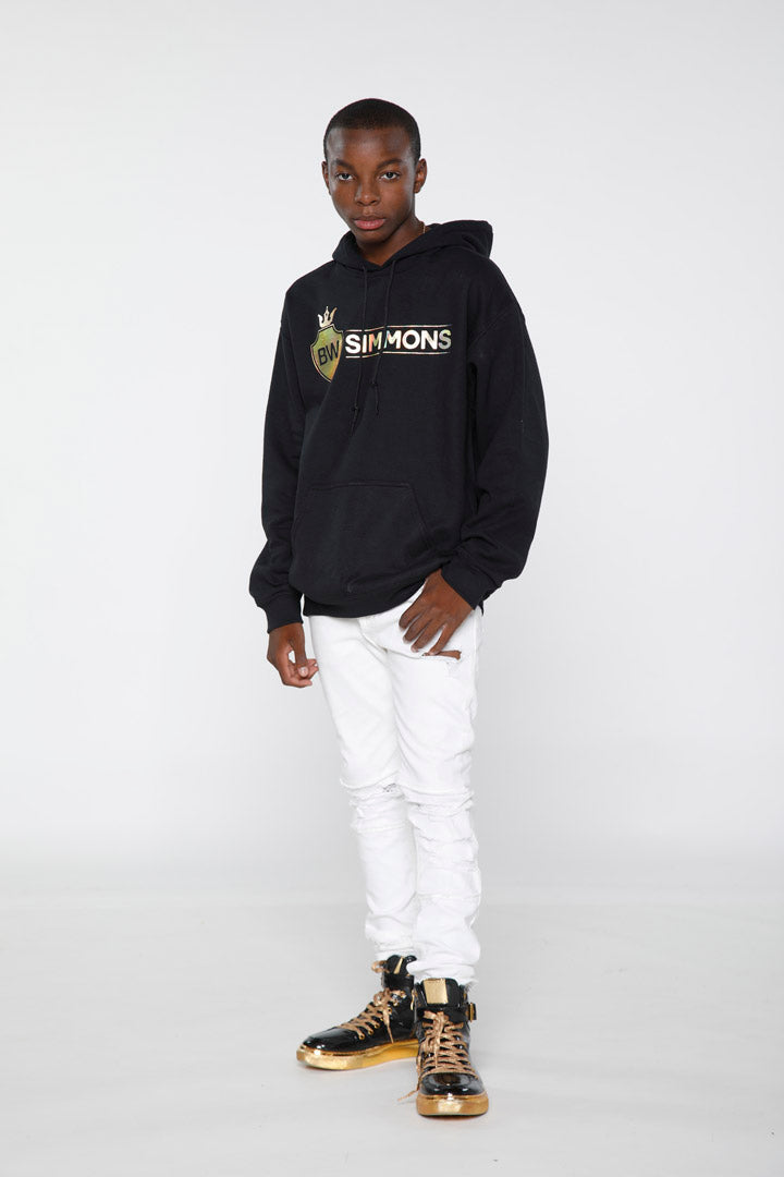 BW Simmons Gold Foil Crown Shield Logo Hoodie
