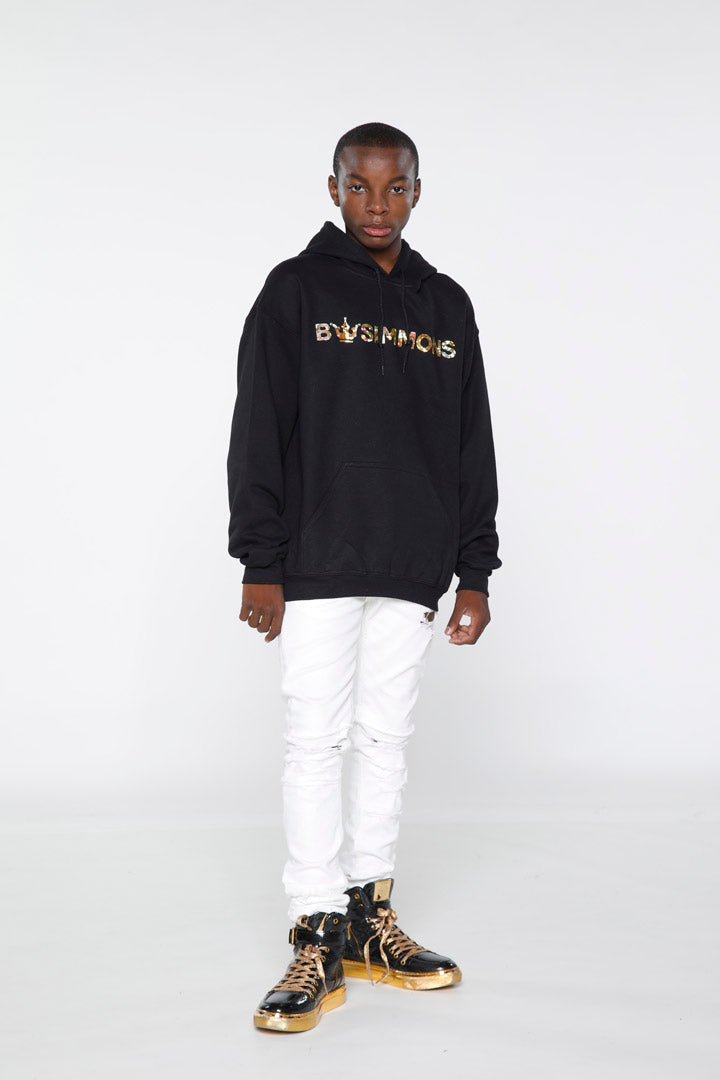 BW Simmons Gold Foil Crown Logo Hoodie