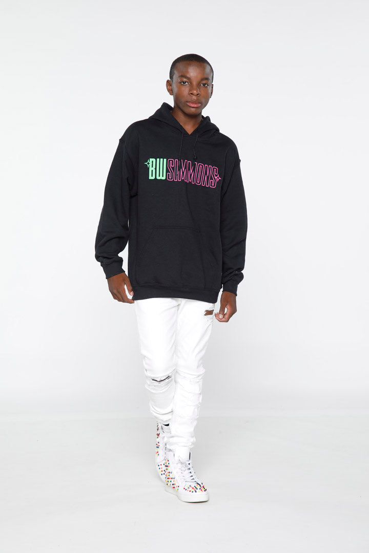 BW Simmons Green/Pink Logo Hoodie