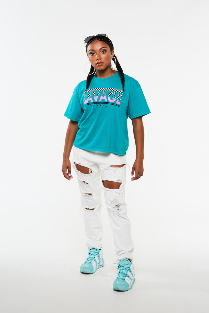 Savage Toxic Checker Crop Tee