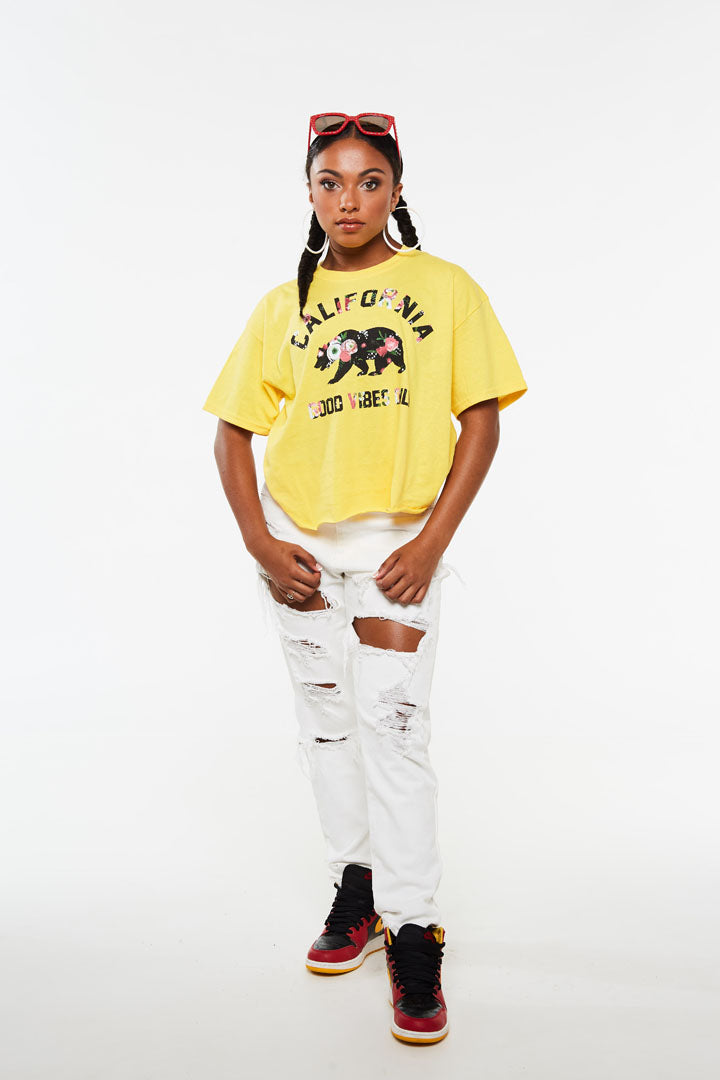 Cali Bear Floral Crop Short Sleeve tee