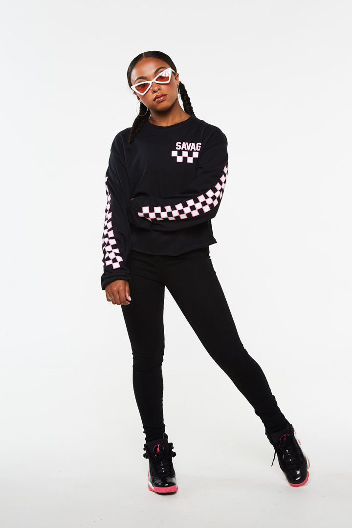 Checker Savage Crop Long Sleeve