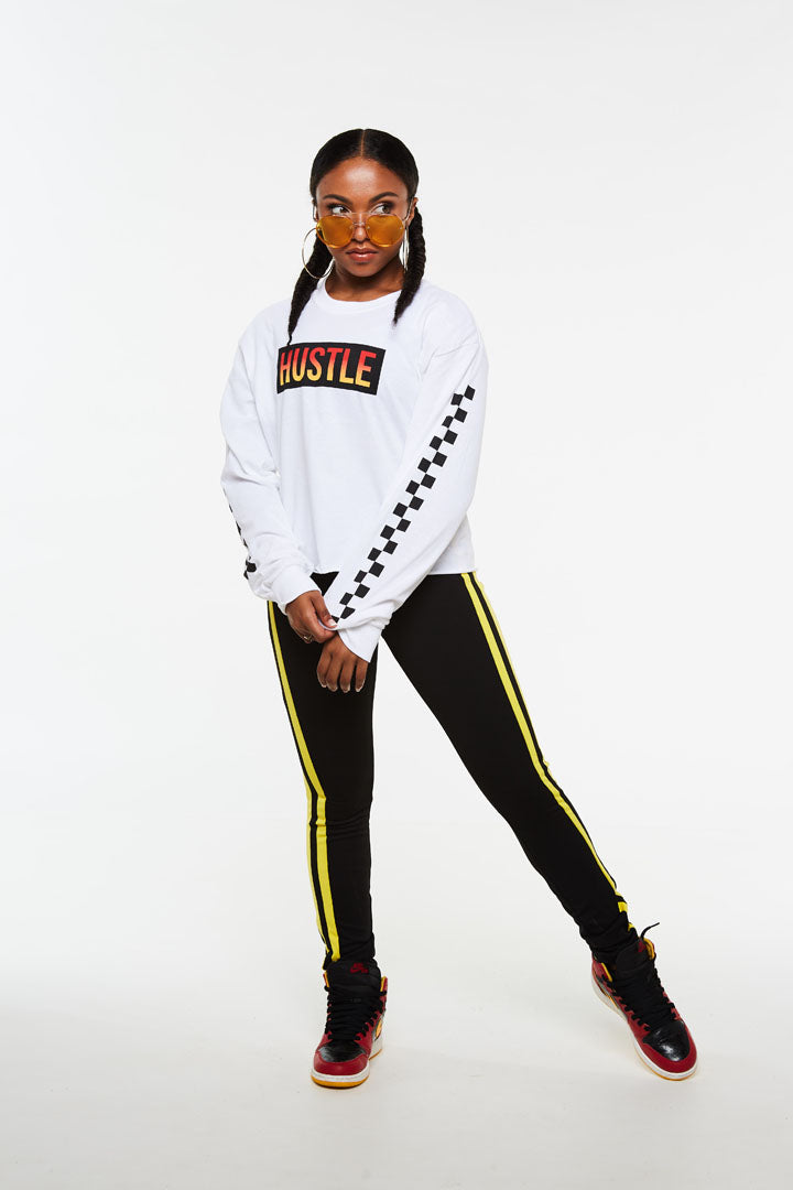 Hustle Checker Crop Long Sleeve