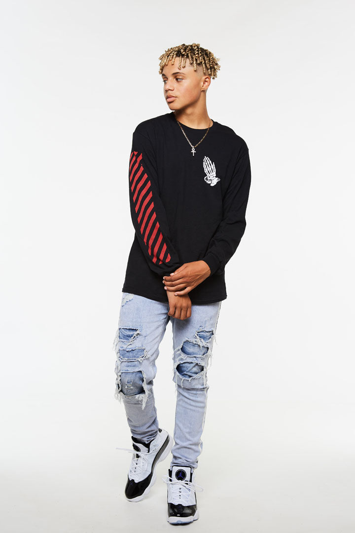 Praying Hands Stripe Long Sleeve