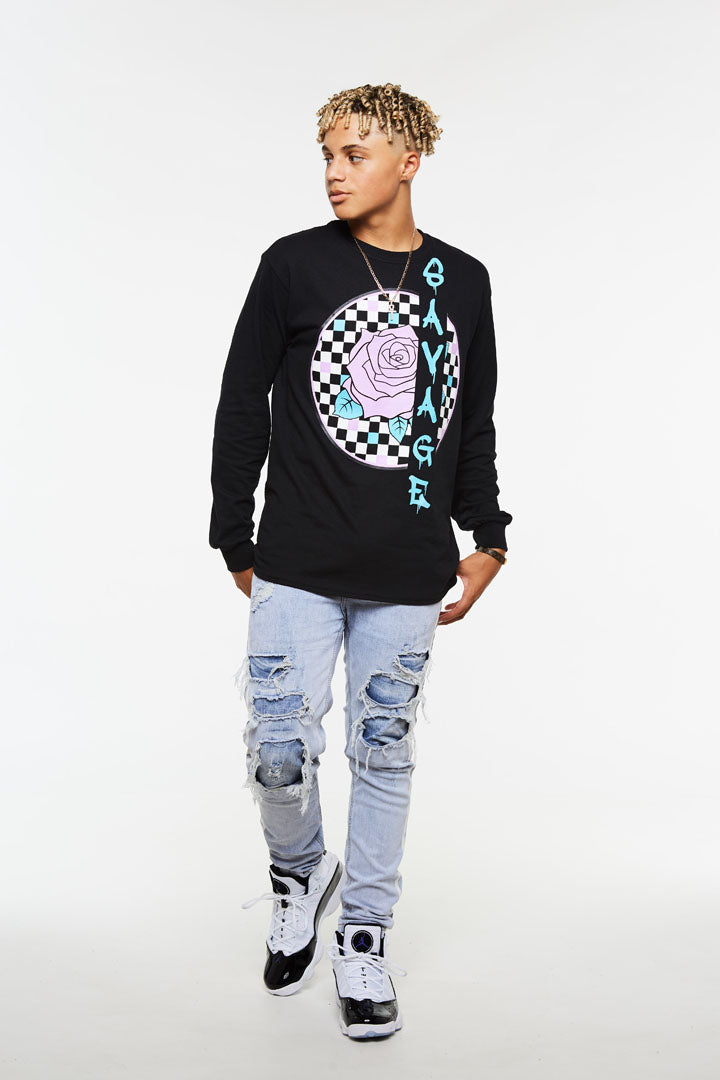 Savage Rose Checker Long Sleeve