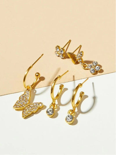5pcs Rhinestone Engraved Butterfly & Flower Decor Earrings