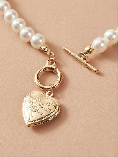 Heart Charm Faux Pearl Decor Necklace