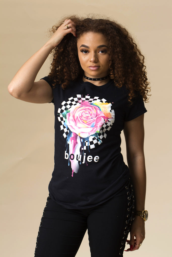 Boujee Dripping Rose Short Sleeve Tee