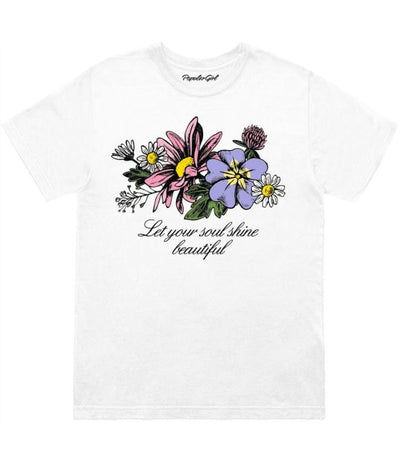 Let Your Soul Shine Floral Tee S / White Girls (4567815848021)