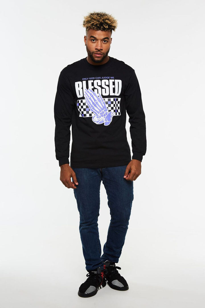 Blessed Praying Hands Checker Long Sleeve