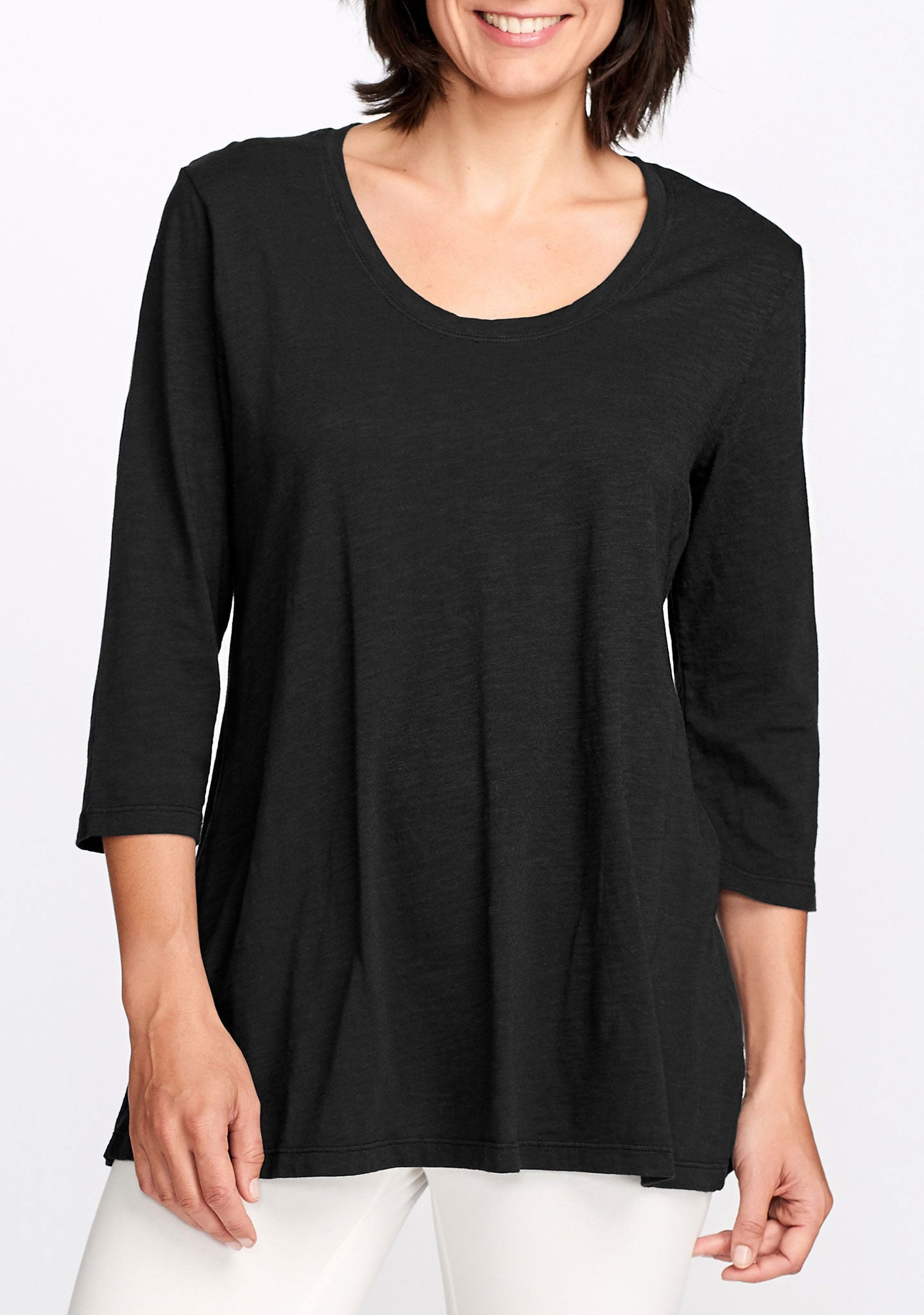 3/4 sleeve tunic black