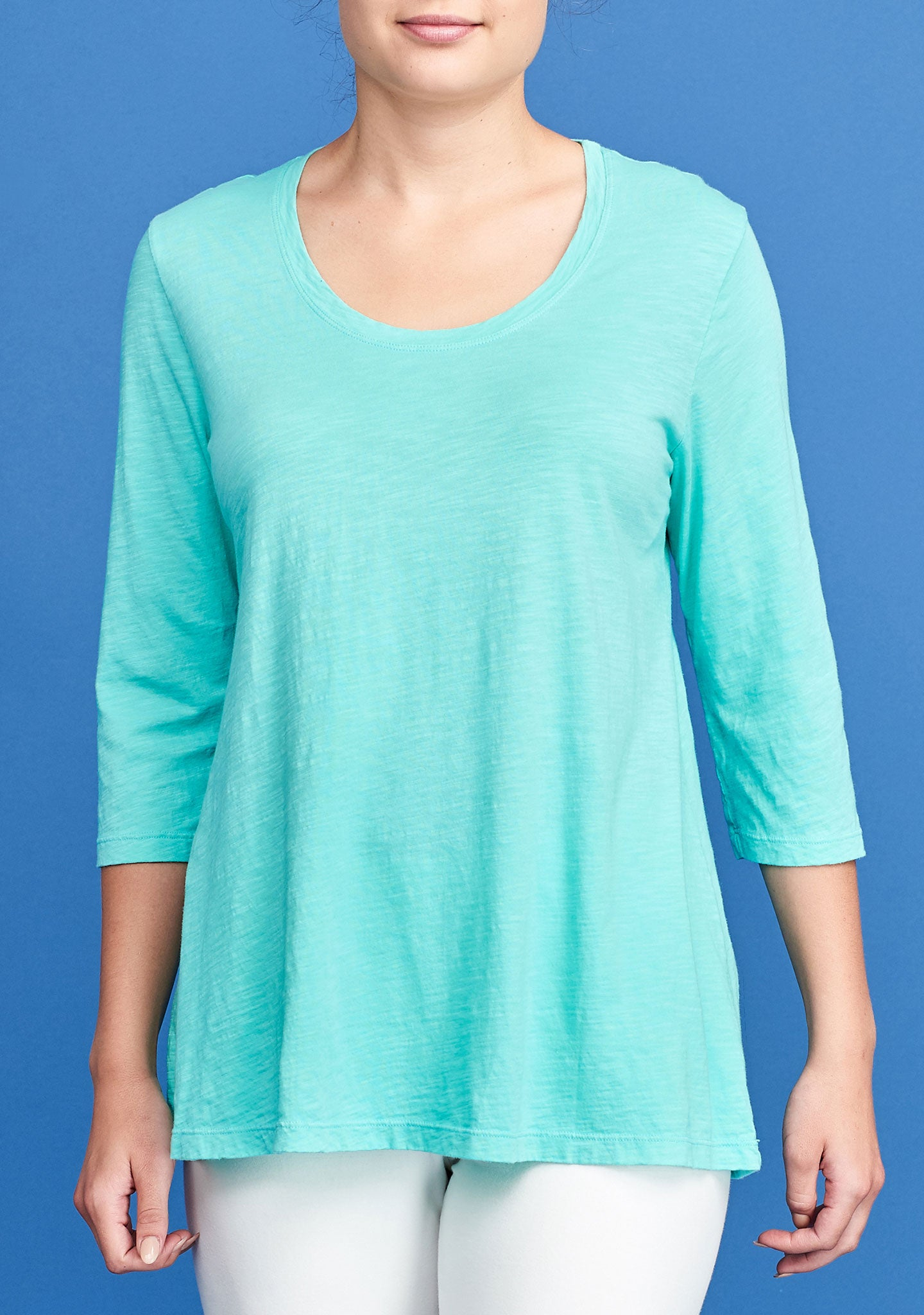 3/4 sleeve tunic green